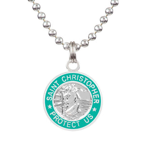 "Saint Christopher Small Medal - Silver/Teal, Jewelry, Get Back Supply, St Christopher Medals, ½"" diameter.18"" aluminum ball chain (can be shortened by cutting).Embossed back with tiny Get Back which ensures authenticity.Silver plated medallion.Care: Rinse with fresh water and wipe dry after wearing in ocean, pool etc."