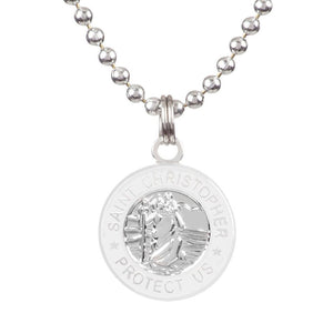 -Jewelry-Saint Christopher Small Medal - Silver/White-Get Back Supply-Seaside Surf Shop