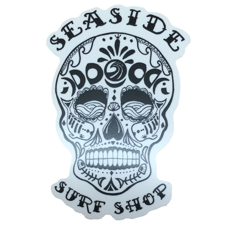 "Seaside Surf Shop - Sugar Skull Sticker - 2x3"", Seaside Surf Accessories, Seaside Surf Shop, Seaside Surf Shop, A local tribute to a south of the border style thats never out of fashion. Sugar Skull Magnet printed on UV coated sticker. Measures approx 2x3"