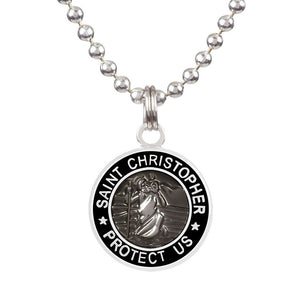 "Saint Christopher Medium Medal - Slate/Black, Jewelry, Get Back Supply, St Christopher Medals, 3/4"" diameter. .24"" aluminum ball chain (can be shortened by cutting).Embossed back with tiny Get Back which ensures authenticity.Silver plated medallion.Care: Rinse with fresh water and wipe dry after wearing in ocean, pool etc."