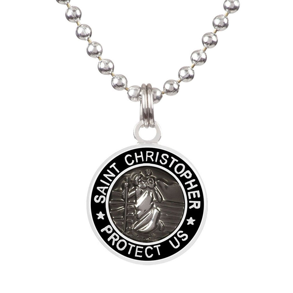 Saint Christopher Small Medal - Slate/Black - Seaside Surf Shop