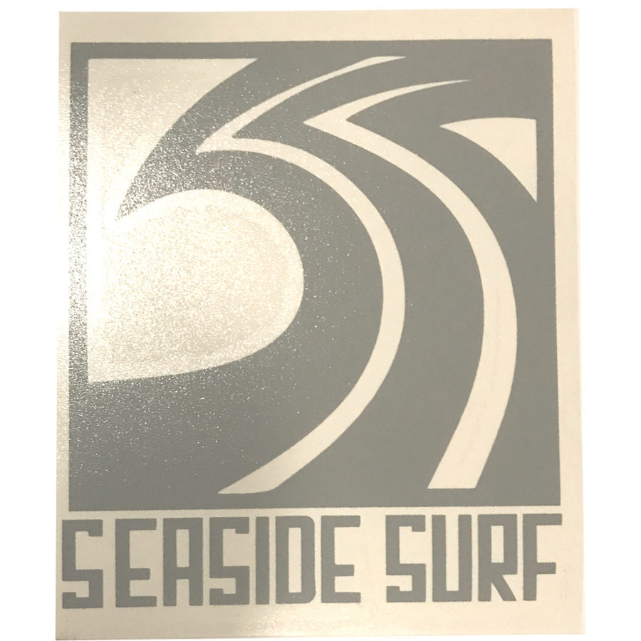 "Seaside Surf Shop - Sqwave Die Cut - 4.5x5"" - Grey, Seaside Surf Accessories, Seaside Surf Shop, Seaside Surf Shop, New Grey colored sticker squared out for your pleasure-meet the Seaside Surf Shop Sqwave Logo. Measures Approximately 4""x3.5"""