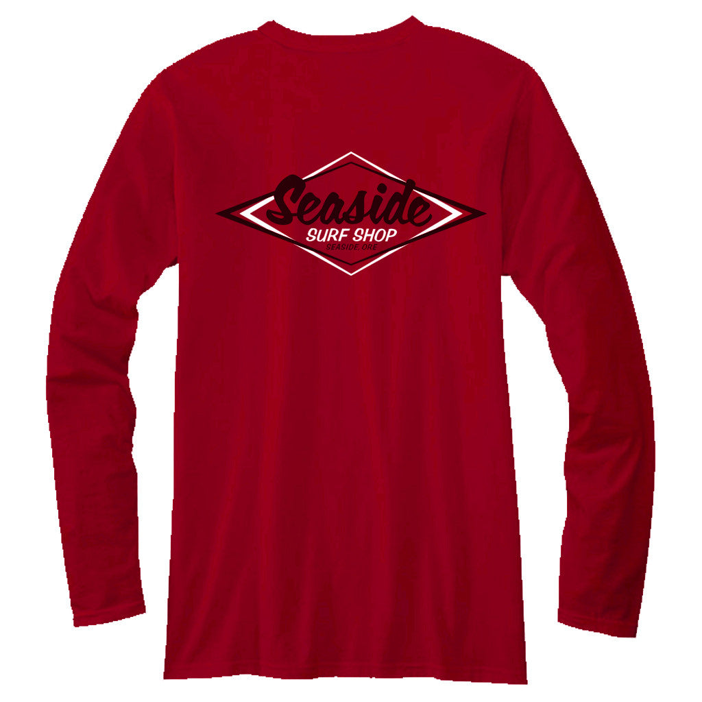 Seaside Surf Shop Mens Vintage Logo L/S Tee - Red