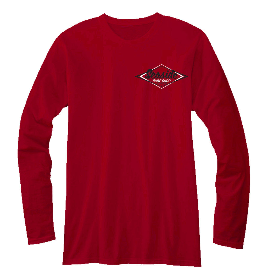 Seaside Surf Shop Mens Vintage Logo Long Sleeve Tee - Red - Seaside Surf Shop