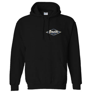 Seaside Surf Shop Mens Vintage Logo Pullover - Black, Apparel, Seaside Surf Shop, Mens Pullovers, Seaside Surf Shop Black Vintage Pullover. A pullover of classic proportions. Back in the black and ready for rock n roll.