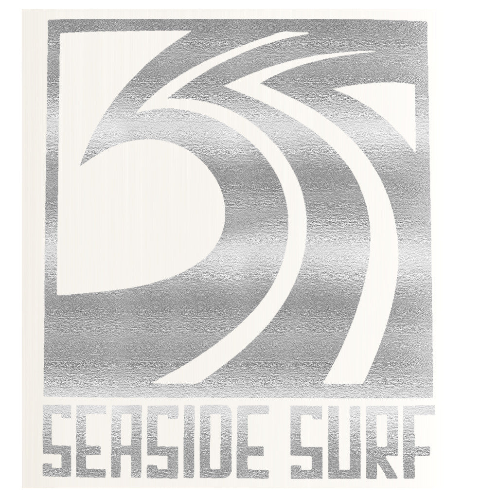 "Seaside Surf Shop - Sqwave Die Cut - 4.5x5"" Silver Grey - Seaside Surf Shop"