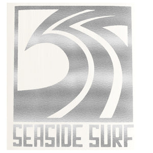"Seaside Surf Shop - Sqwave Die Cut - 4x3.5"" Silver Grey-Seaside Surf Shop-Seaside Surf Shop"