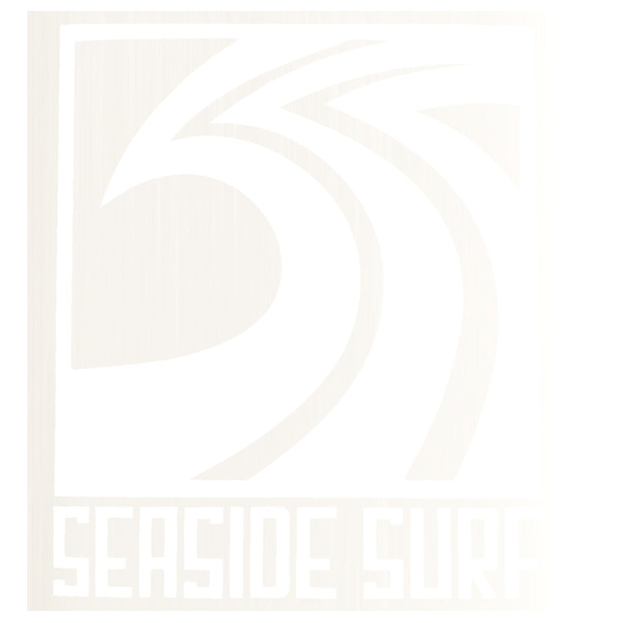 "Seaside Surf Shop - Sqwave Die Cut - 4x3.5"" White, Seaside Surf Accessories, Seaside Surf Shop, Seaside Surf Shop, New white colored sticker squared out for your pleasure-meet the Seaside Surf Shop Sqwave Logo. Measures Approximately 4""x3.5"""