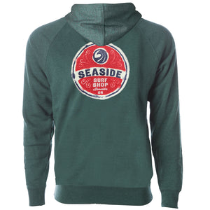 Seaside Surf Shop Unisex Wax Label Zipped Hoody - Moss, Apparel, Seaside Surf Shop, Unisex Hoody's, Like melted wax labels this special polyblend will melt comfortably onto you like a second skin.