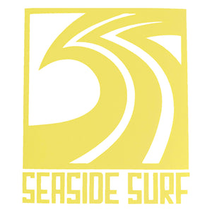"Seaside Surf Shop - Sqwave Die Cut - 4.5x5"" - Yellow, Seaside Surf Accessories, Seaside Surf Shop, Seaside Surf Shop, New Yellow colored sticker squared out for your pleasure-meet the Seaside Surf Shop Sqwave Logo. Measures Approximately 4""x3.5"""
