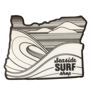 "Seaside Surf Shop - Oregon Sticker - White/Black, Seaside Surf Accessories, Seaside Surf Shop, Seaside Surf Shop, Oregon sticker measures Approx 3""x 2.5"""