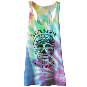 Seaside Surf Shop Womens Sugar Skull Tank - Tie Dye, Apparel, Seaside Surf Shop, Womens Tanks, Día de las olas! Day of the Surf Womens Sugar Skull Tank in assorted tie dye colors. Stay sweet and spicy yet pyschadelic with our newest tie died womens tank tops. Hand made in store by the Surf Shop mermaids! Colors are random and vary. You can request a general hue of color which we will try our best to fufill.