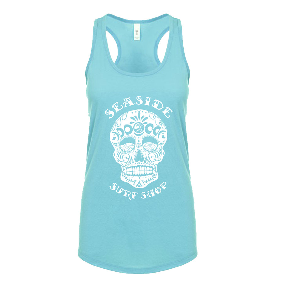 Seaside Surf Shop Womens Sugar Skull Tank - Tahiti Blue, Apparel, Seaside Surf Shop, Womens Tanks, Día de las olas! Day of the Surf Womens Sugar Skull Tank. Stay sweet and spicy with our newest womens tank tops. Racerback Tank TeeDETAILS:Fabric: Lightweight Cotton Poly Jersey60% Combed Ring-Spun Cotton 40% Polyester / 30 singles, 135 grams/4.0ozNeck: Tank Top