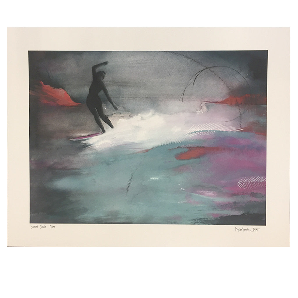 Kara Sparkman Watercolors - Sunset Glide - Seaside Surf Shop