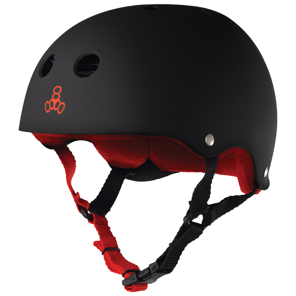 Triple 8 Classic Sweatsaver™ Skateboard Helmet - Black/Red - Seaside Surf Shop