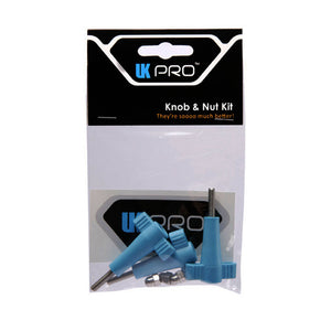 UK Pro GoPro Knob & Nut Kit, GoPro Accessories, UK Pro, UK Pro Kit, The Knob and Nut Kit by UKPro comes with three stylish blue wingnuts that are easy to see if you drop them anywhere. The ergonomic design makes the knobs much easier to attach than the standard GoPro® knobs, even if your hands are wet or you are wearing heavy gloves.