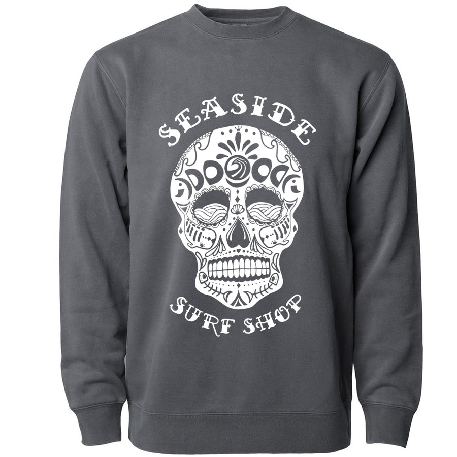Seaside Surf Shop Unisex Sugar Skull Crewneck - Pigment Black-Seaside Surf Shop-Seaside Surf Shop