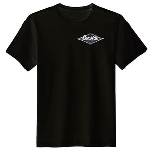 Seaside Surf Shop Mens Vintage Logo Tee - Black, Apparel, Seaside Surf Shop, Mens Tees, Back in black, its good to be back. Vintage logo screened onto a black tee. Works well in all conditions from leather to Levi's. Rock n Roll!