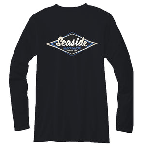 Seaside Surf Shop Mens Vintage Logo L/S Tee - Black, Apparel, Seaside Surf Shop, Mens L/S Tees, Seaside Surf Shop Long Sleeve Vintage Black Tee - new colors, new rep, new party.