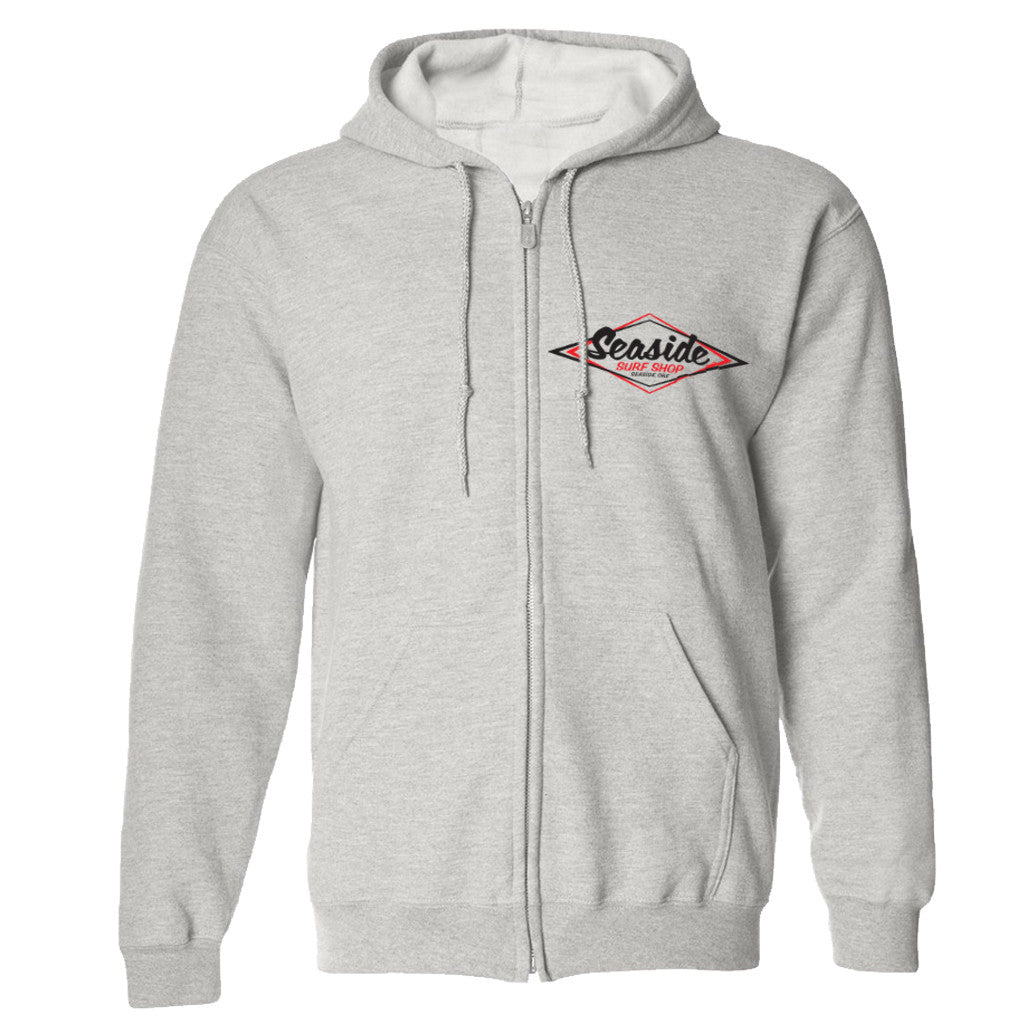 '-Seaside Surf Apparel-Seaside Surf Shop Mens Vintage Logo Zip Hoody - Grey-Seaside Surf Shop-Seaside Surf Shop