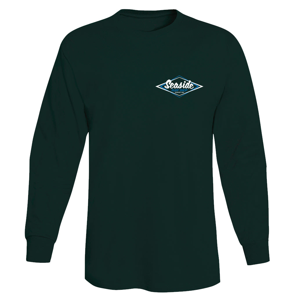 Seaside Surf Shop Mens Vintage Logo Long Sleeve Tee - Deep Forest - Seaside Surf Shop