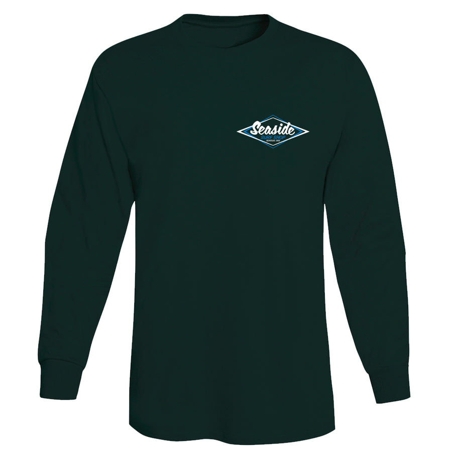 Seaside Surf Shop Mens Vintage Logo Long Sleeve Tee - Deep Forest, Apparel, Seaside Surf Shop, Mens L/S Tees, Cool enough to chill with the old school, fresh enough to represent Seaside Surf Shop even at a hipster party. The only T-shirt you need.