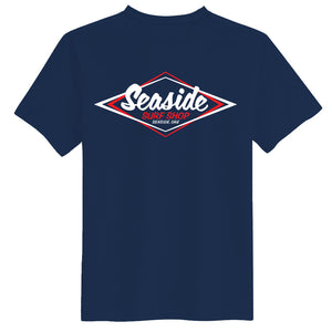 Seaside Surf Shop Mens Vintage Logo Tee - Navy, Apparel, Seaside Surf Shop, Mens Tees, Cool enough to chill with the old school, fresh enough to represent Seaside Surf Shop at even a hipster party. The only T-shirt you need.