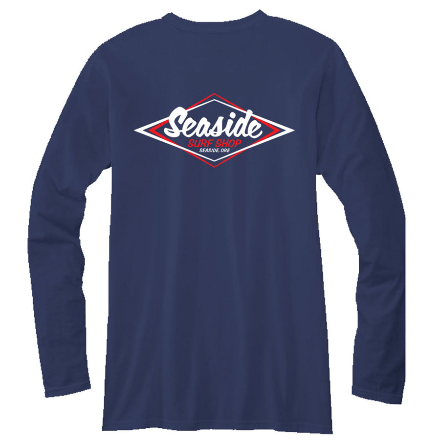 Seaside Surf Shop Mens Vintage Logo L/S Tee - Navy, Apparel, Seaside Surf Shop, Mens L/S Tees, Cool enough to chill with the old school, fresh enough to represent Seaside Surf Shop even at a hipster party. The only T-shirt you need.