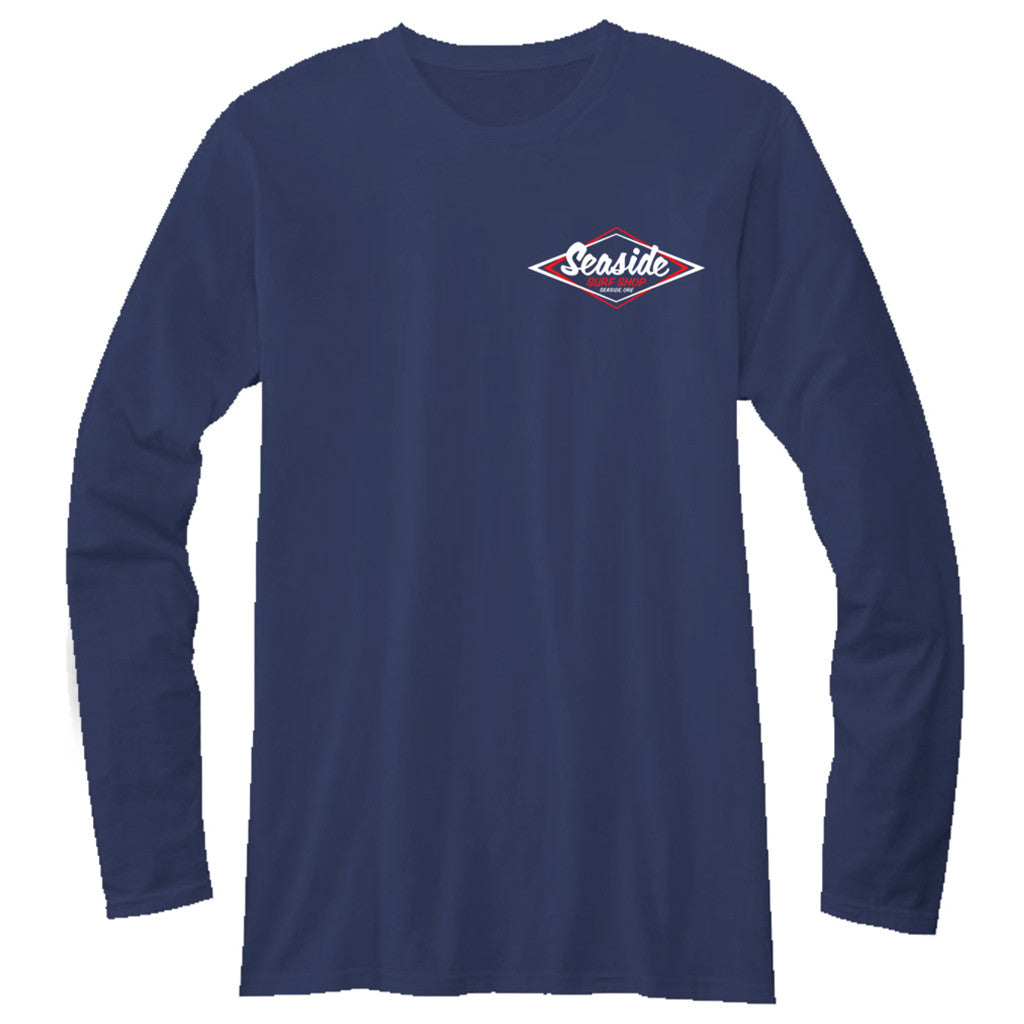 Seaside Surf Shop Mens Vintage Logo L/S  Tee - Navy