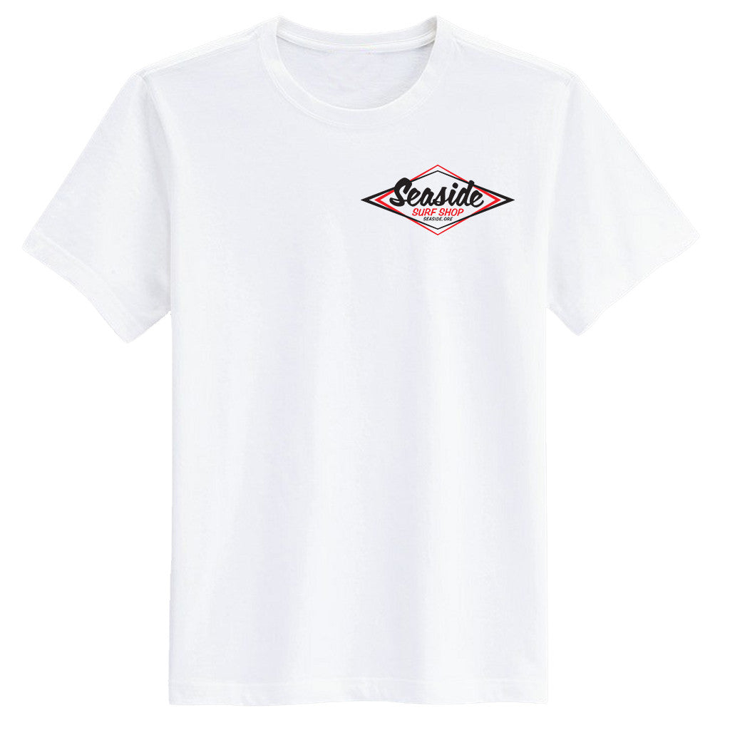 -Seaside Surf Apparel-Seaside Surf Shop Mens Vintage Logo Tee - White-Seaside Surf Shop-Seaside Surf Shop
