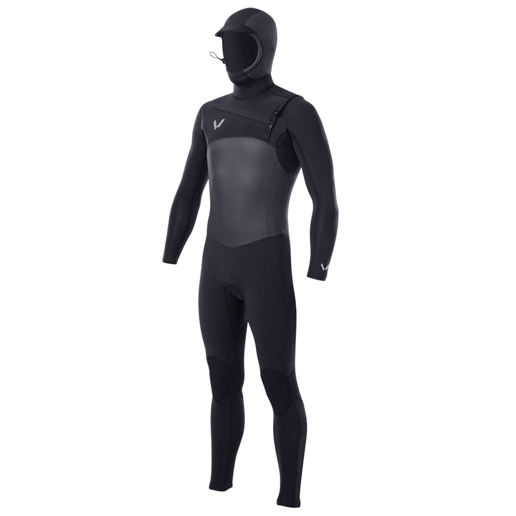 Volte Supreme Mens 5/4 Chest-Zip Hooded Wetsuit - Black - Seaside Surf Shop