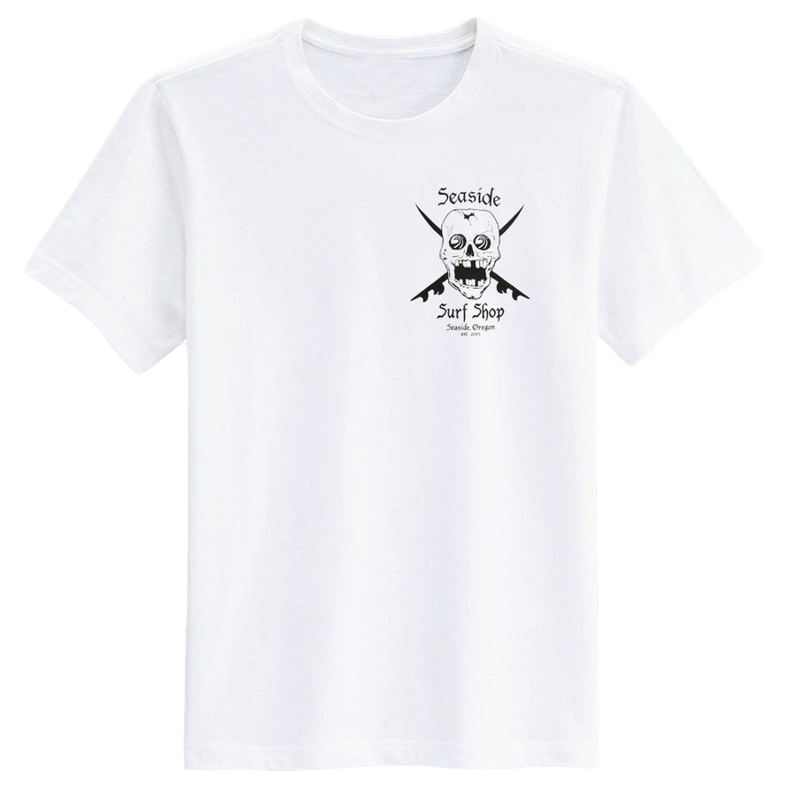 Seaside Surf Shop Mens Skull Tee - White