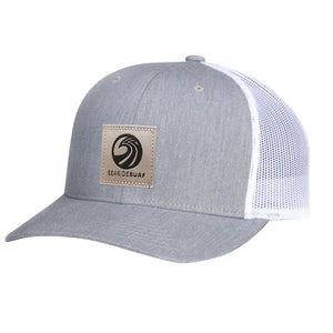 Seaside Surf Shop New Wave Logo Patch Cap - Grey/White, Apparel Accessories, Seaside Surf Shop, Snapback, New Trucker with pre curved bill made with cotton twill & mesh. This snapback cap fits mosts and features our newest woven label patch with new wave triple SSS logo. Seaside Surf Shop....lives forever.