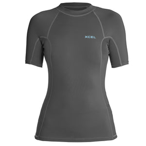 Xcel Women's Premium 6oz S/S UV Rashguard - Gunmetal, Wetsuit Accessories, Xcel Wetsuits, Short Sleeve Rashguards, Xcel Women's Premium 6oz S/S UV Rashguard in gunmetal colors provides an insulating layer to protect against UV rays and anatomically cut for a comfortable fit. Made with 4 way stretch and Xcel materials - this is perfect for lake and river sports, warm water surfing, or underlayer for additional warmth.