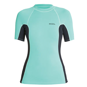 Xcel Women's Premium 6oz S/S UV Rashguard - Pistachio/Black-Xcel Wetsuits-Seaside Surf Shop