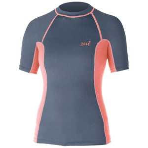 "Xcel Women's Monica Premium 6oz S/S - Gunmetal/Coral, Wetsuit Accessories, Xcel Wetsuits, Short Sleeve Rashguards, Womens Rashguards, Premium 6-ounce, 4-way stretch fabric and a comfortable, snug ""second skin"" fit. Tested and UPF rated to block over 98% of UVA/UVB radiation from the sun. Streamlined left key pocket."