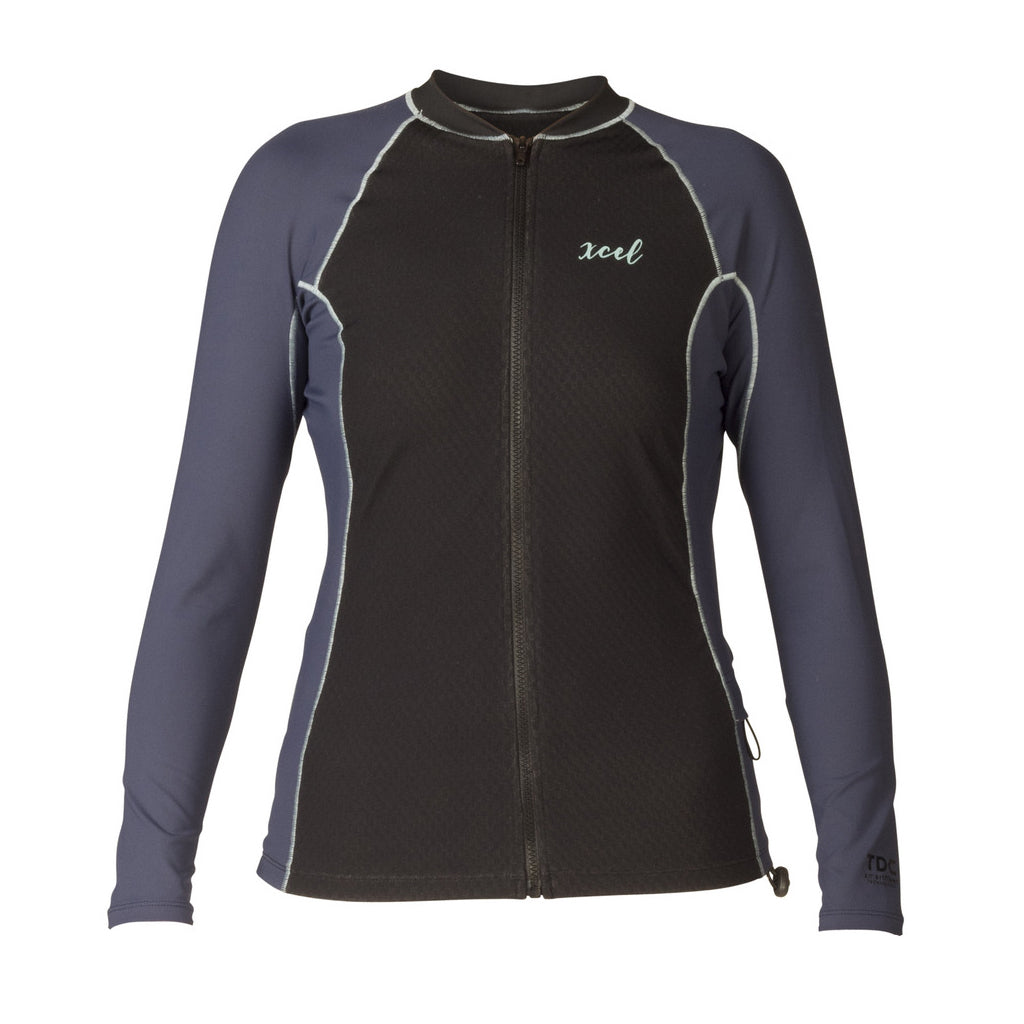 Xcel Womens Drylock Celliant L/S Front Zip - Black/Indigo - Seaside Surf Shop