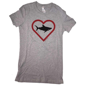 Seaside Surf Shop Womens Heart Shark Tee - Heather Grey, Apparel, Seaside Surf Shop, Womens Tees, We love our oceans, but especially our Northwest local. The Great White Heart Shark Tee for women.