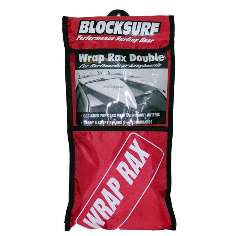 Blocksurf Wrap Rax Double, Surf Accessories, Blocksurf, Rack Pads, For surfboards or longboards this double rax system is for cars with or without gutters and can carry up to 6 shortboards or 2 longboards.