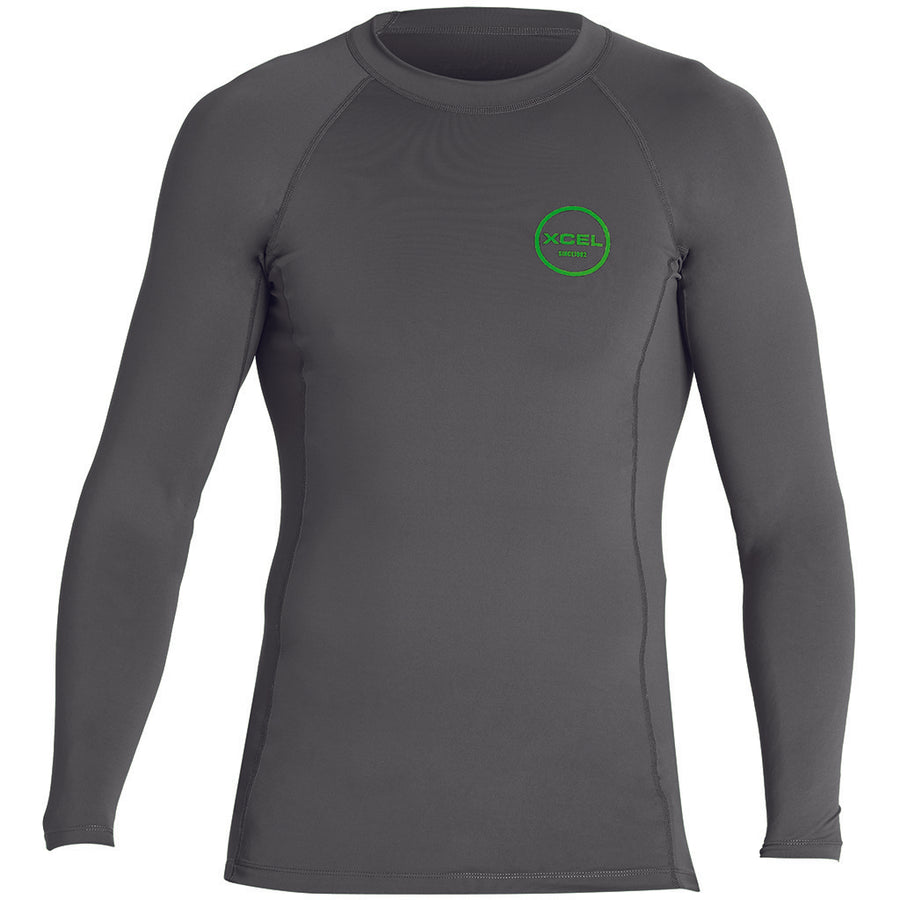 Xcel Mens Premium Stretch L/S UV Rashguard - Gunmetal-Xcel Wetsuits-Seaside Surf Shop