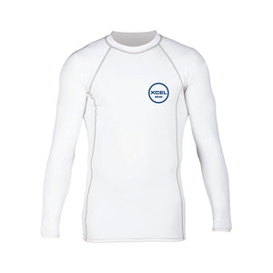 Xcel Mens Premium Stretch L/S UV Rashguard - White-Xcel Wetsuits-Seaside Surf Shop