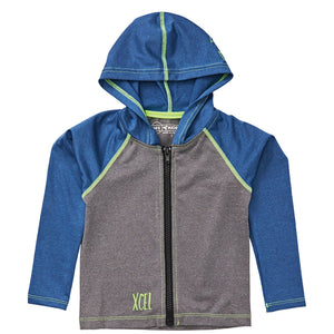 Xcel Toddler Unisex 8oz Premium Hooded Stretch L/S Spring Suit - Grey Silver/Blue Indigo, Wetsuit Accessories, Xcel Wetsuits, Toddler Zip Stretch UV Hooded Suit, Spring 2019 New from Xcel Wetsuits for Toddlers. 8oz of 4 way stretch with UV protection, easy zip entry and full head protection.