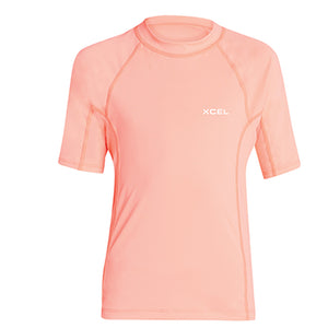 Xcel Girls Premium Stretch S/S UV Rashguard - Grapefruit, Wetsuit Accessories, Xcel Wetsuits, Short Sleeve Rashguards, Xcel Girls Premium Stretch S/S UV Rashguard - Grapefruit