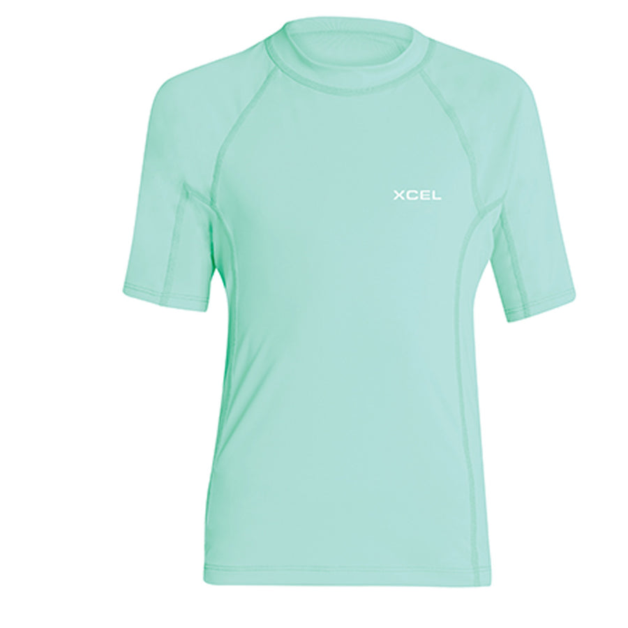 Xcel Girls Premium Stretch S/S UV Rashguard - Pistachio, Wetsuit Accessories, Xcel Wetsuits, Short Sleeve Rashguards, Xcel Girls Premium Stretch S/S UV Rashguard - Pistachio