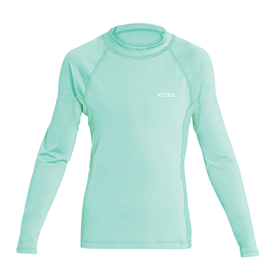 Xcel Girls Premium Stretch L/S UV Rashguard - Pistachio-Xcel Wetsuits-Seaside Surf Shop