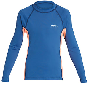 Xcel Girls Premium Stretch L/S UV Rashguard - Faint Blue/Grapefruit, Wetsuit Accessories, Xcel Wetsuits, Long Sleeve Rashguards, New Xcels Premium UV Stretch Long Sleeve Rashguards for Girls in Faint Blue/Grapefruit color.