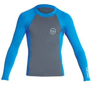 Xcel Youth Premium Stretch L/S UV Rashguard - Gunmetal/Sea Blue-Xcel Wetsuits-Seaside Surf Shop