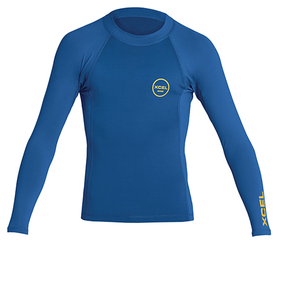 Xcel Youth Premium Stretch L/S UV Rashguard - Faint Blue-Xcel Wetsuits-Seaside Surf Shop