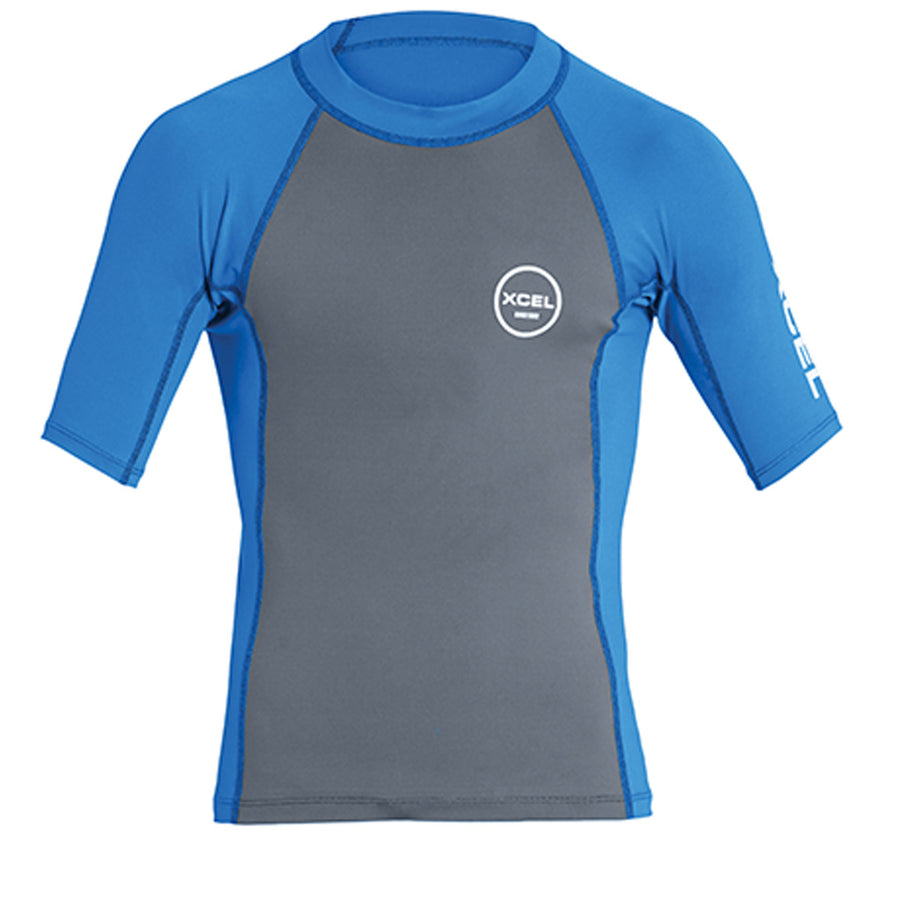 Xcel Youth Premium Stretch S/S UV Rashguard - Gunmetal/Sea Blue-Xcel Wetsuits-Seaside Surf Shop