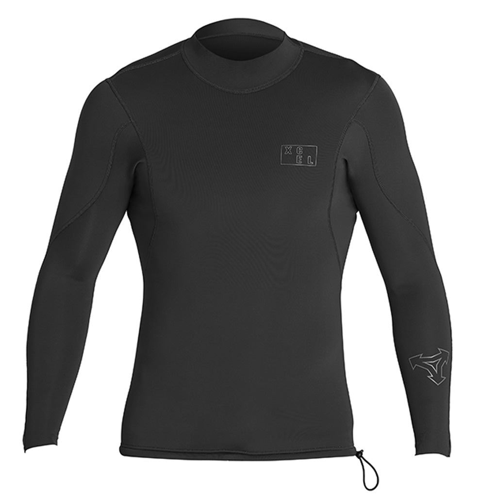 Xcel Axis Mens 2/1mm L/S Wetsuit Top - Black - Seaside Surf Shop